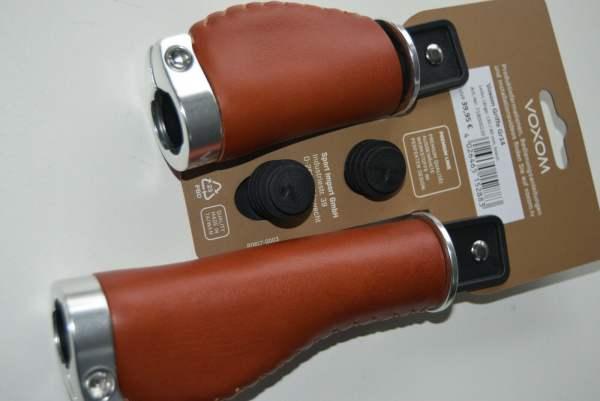 Voxom Lenkergriffe Gr. 14, braun, 130/80mm, Leder geschlossenes Ende
