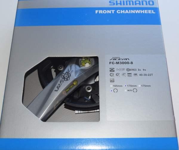 Shimano Acera FC-M3000, 40x30x22 Zähne 170mm 3x9 silbergrau Octalink Aufnahme